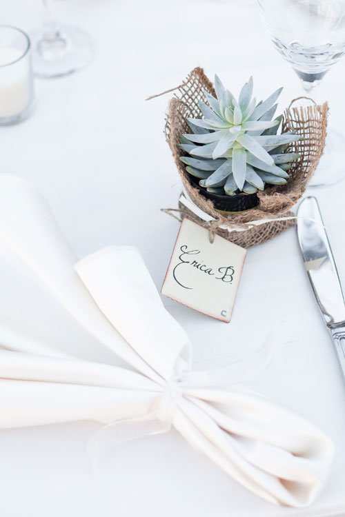 Garcia Wedding-Place setting with succulent and burlap